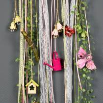Dekorative fugler på klips rosa / lilla 9cm 8stk