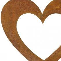 Hjerterust hagedekorasjon metallhjerte 10cm 12stk