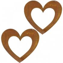 Hjerterust dekorasjon hjerte hage metall 15cm 6stk