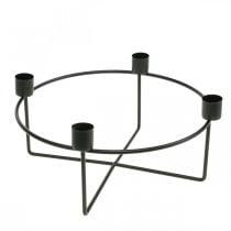 Lysestake til 4 koniske lys svart metall H11cm Ø24,5cm