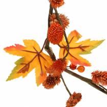 Høstkrans med lønneblader og appelsinkegler 1,28m