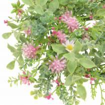Engkrans med kløver flokka rosa, grønn Ø30cm