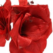 Amaryllis rød kunstig silkeblomst med tre blomster H40cm