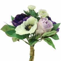 Bukett med anemoner og roser fiolett, krem 30cm