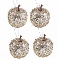Deco mini apple glitter champagnetre dekorasjoner Ø3,5cm 24stk
