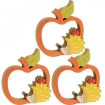 Dekorativ figur høst, eple med pinnsvin, trepynt 16,5 × 15cm 3 stk