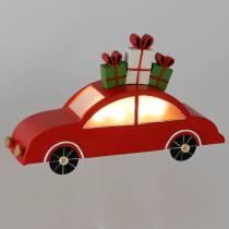 Julebil med LED rødmetall 25cm H14,5cm for batteri.