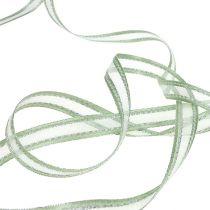 Gavebånd mintgrønt med sølv 15mm 20m