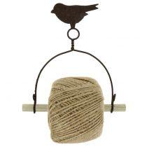 Båndholder fugl for henging med jute H19cm