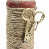 Trådsnelle med dekorative saks Ø6,5cm H15cm 2stk vintage stil