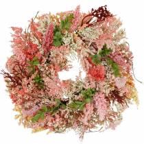 Lyngkrans kunstig rosa Ø48cm