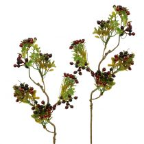 Kunstig bær gren cotoneaster rød 50cm 2stk