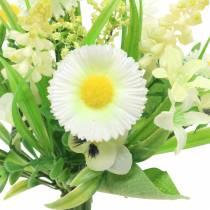 Vårbukett med bellis og hyasint kunstig hvit, gul 25cm