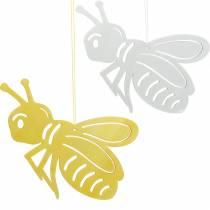 Trefigur bie, vårdekorasjon, honningbie å henge opp, dekorativt insekt 6stk