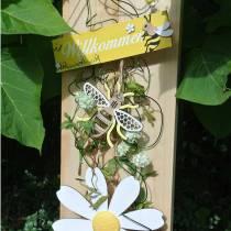 Dekorasjon for å henge bier gul, hvit, gyldent tre sommerdekorasjon 6stk