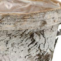 Bjørkekanne med kant medium Ø16cm H13cm hvit
