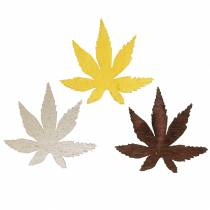 Spredte deco blader gule, brune, platina assortert 4cm 72p