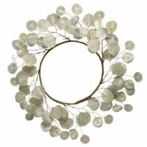 Bladkrans kunstig champagne runde blader Ø55cm