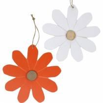 Blomst anheng, dekorative blomster oransje og hvite, tre dekorasjon, sommer, dekorative blomster 8stk