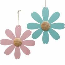 Treblomster å henge, vårdekorasjon, treblomst rosa og blå, sommer, dekorative blomster 4stk