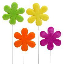 Blomsterknopper blomstrer flerfarget flokket Ø8,5cm 8stk
