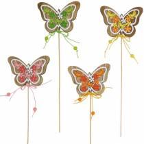 Flower plug sommerfugl tre vår dekorasjon på stang 12 stk