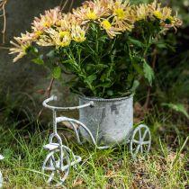 Urtepott sykkel metall vintage hvit vasket 24 × 13 × 14cm