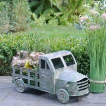 Blomsterkrukebil sinkgrå, grønn 42 × 17,5 × 19,5cm