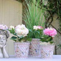 Blomsterkrukke metallroser sommerdekorasjon planter Ø13,5cm H11,5cm