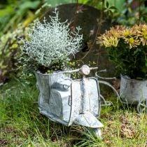 Urtepott motorsykkel metall vintage hvit vasket 35 × 12 × 23cm