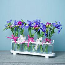 Blomstervase apotekerflasker apoteker glassdekorasjon på brett 38cm