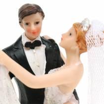 Bryllupsdekorasjon brudeparet håndmalt H13cm