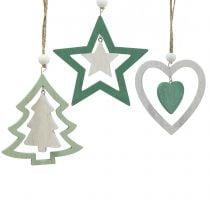 Juletrepynt blander grønt, hvitt 10cm 9stk