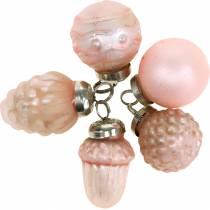 Mini-trepynt høstfrukt og kuler rosa, sølv ekte glass 3,4–4,4cm 10stk