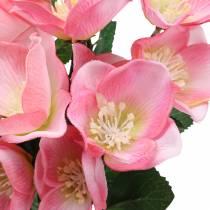 Bukett med juleroser rosa 29cm 4stk