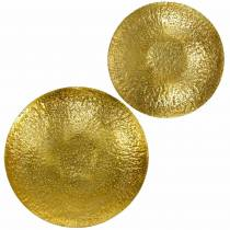 Gylden dekorativ bolle metall Ø35 / 46cm, sett med 2