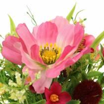 Dekorativ bukett Cosmea og snøball i en haug Kunstig rosa assortert H18cm