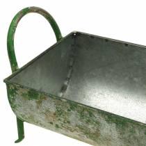 Dekorativt sinkkar for planting med håndtak grå, grønn 60 / 43cm sett med 2