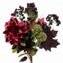 Kunstig dekorativ bukett med dahlia og bær lilla 45cm