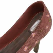 Plantesko til dekorasjon av sko Pumpe brun 24cm × 8cm H13.6cm