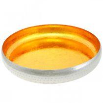 Dekorativ bolle i metall rundt Gull- og sølvbrett Ø36,5cm