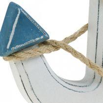 Deco ankerved for å dekke borddekorasjon maritim blå, hvit H24cm