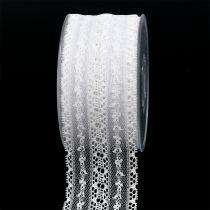 Dekorativ båndblonder 55mm 20m hvit