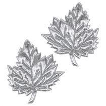 Dekorative blader laget av silke 5cm sølv 60p