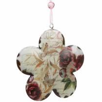 Dekorativ blomst for hengende pioner nostalgisk metall vårdekorasjon 4stk