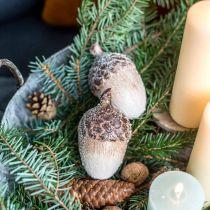Dekorative eikenøtter dekket av snø, keramiske dekorasjoner, advent, vinterhøstdekorasjoner L9,5 4stk
