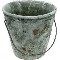 Dekorativ bøtte, blomsterkar, keramisk bøtte, antikk utseende, Ø19,5cm H19cm