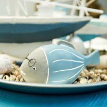 Dekorativ fisk med glass blåhvit 15,5 / 14,5cm 2stk
