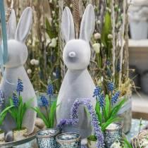 Dekorativ kanin grå flokket 47cm påskeharen dekorasjon påske