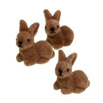 Dekorative kaniner 5cm flokket brun 16stk.